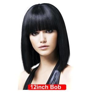 Bob Wigs Bangs Human-Hair Hair-Bob Black Straight Maxine with Short Lolita 12inch Cosplay