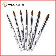 TIANMI Gradient Color Kolinsky Acrylic Nail Brushes Nail Art Tool Nail Polish Brush Set Painting Pen For NAIL Beginner