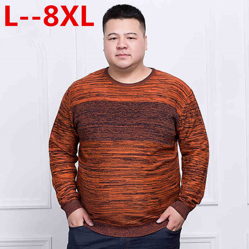 Plus 10XL 8XL 6XL 5X Men Knitwear Wool Spring Mens Sweater Pullovers Male Casual Sweaters Classic Simple Print Color Men Sweater