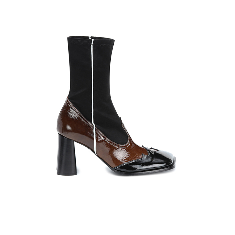 SARAIRIS New 34 43 Luxury Brand Genuine Leather Booties Ladies Runway Ankle Stretch Boots Women 2019 High Heels Shoes Woman in Ankle Boots from Shoes