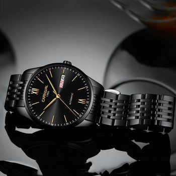 KARNEVAL Marke Luxus Sapphire Kristall Automatische Mechanische Uhr Männer Schwarz Edelstahl Wasserdicht Business männer Tilt-mechanisch-sm