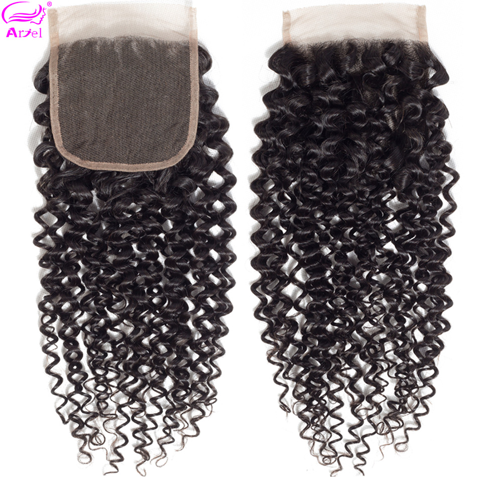 Lace Closure Middle-Part Mongolian Kinky 4x4