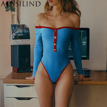 AOSSILIND Off Shoulder Slash Neck Skinny Sexy Bodysuit 2019 Autumn Winter Long Sleeve Ribbed Rompers Women Buttons Body suits недорого