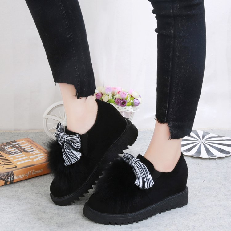 Image 4 - Round Toe Fashion Furry Loafers for Women Flock Riband Plush Warm Loafer Shoes Mixed Colors Casual Sweet Slip on Flats Shoes-in Women's Flats from Shoes
