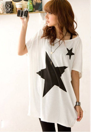 T Shirt Women 2020 Stars Print cross-border Trade Patterns plus-size Loose Cotton Short Sleeve T-shirt Tops Tshirt Vestidos 1