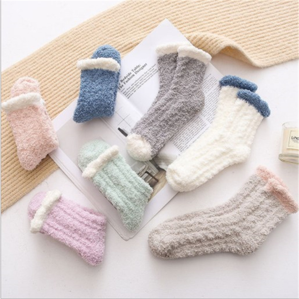 Female Tube Socks Original Plush Coral Fleece Socks Autumn And Winter Cat Claws Cute Thick Warm Sleep Floor Socks Tide Sock