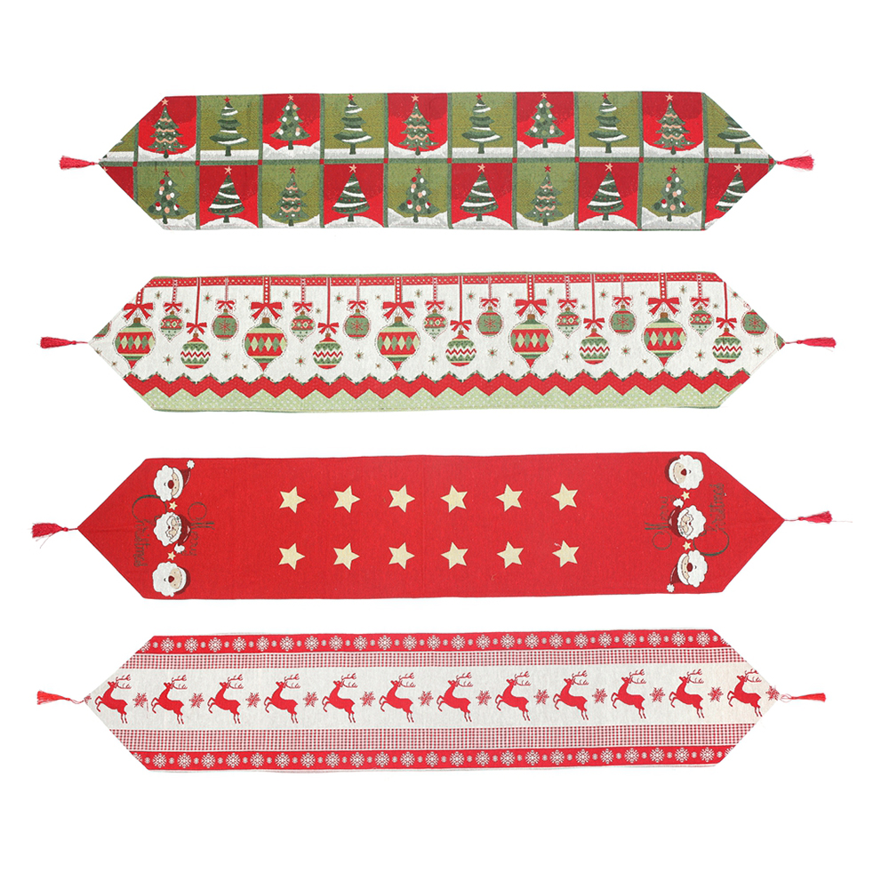 1 Piece Christmas Table Runners Xmas Snowman & Christmas Tree & Reindeer Festival Home Dinner Party Decoration