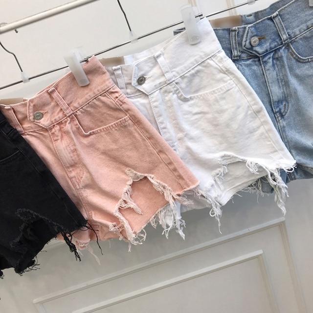 Vintage Ripped Jeans Shorts Women Plus Size High Waist Denim Shorts Female Summer Chic Streetwear Stylish Sexy Hot Shorts Girls 6