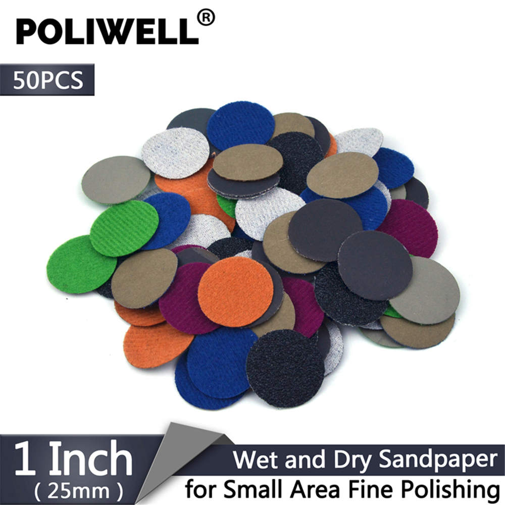POLIWELL 50PCS 1 Inch Grit 1000 /3000/ 5000 Sanding Discs Waterproof Flocking Abrasive Sandpaper For Small Area Fine Polishing