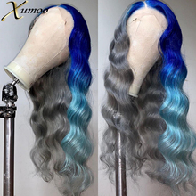 XUMOO Body Wave Ombre Blue Lace Front Wigs Bone Straight Silver Gray Raw Brazilian Human Hair With Baby Hair For Cosplay Women