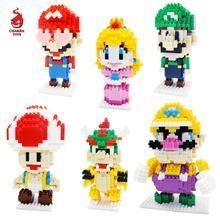 New Mini Super Marioed Bros Figure Block Building Luigi Peach Toad Bowser Classic Game Mirco Bricks Model Toys Gift for children