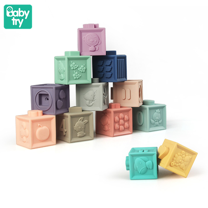 Babytry Embossed Building Bricks 3D Touch Hand Ball Blocks Baby Grasp Toys Fun Rubber Teethers Squeeze Silicone Blocks Baby Toys