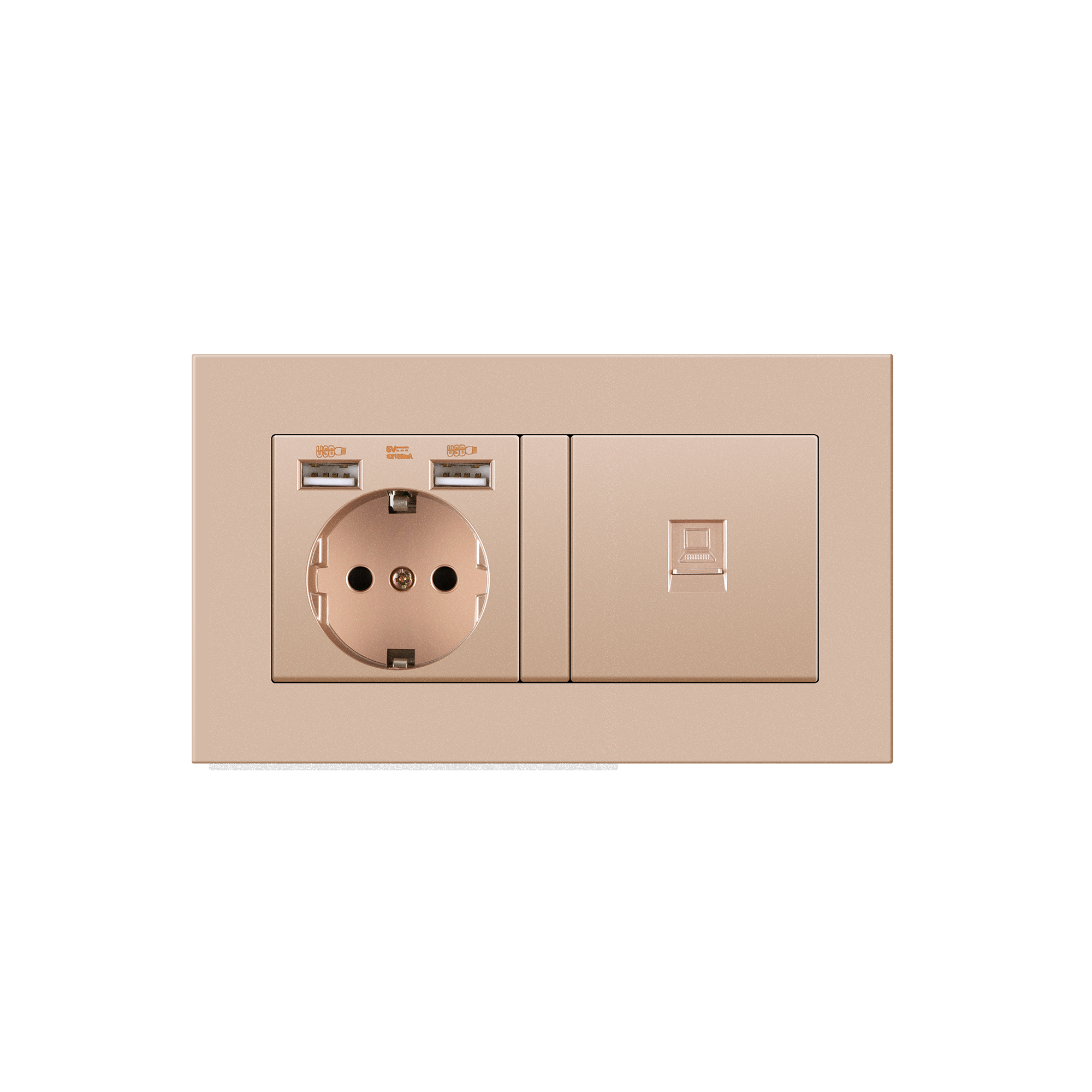 Germany home Wall Power Socket With DIY socket RJ45 switch TV computer Retardant PC panel 146*86mm Electricity outlet,GOLD