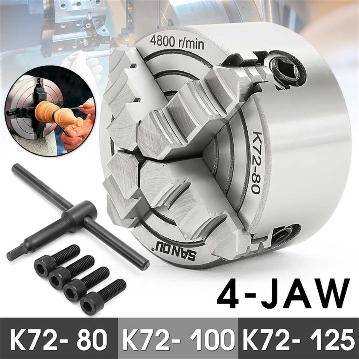 K72- 80/K72- 100/K72- 125 4 Jaw Lathe Chuck Independent 80mm/100mm/125mm Self-Centering 1pcs Safety Chuck Key 3pcs Mounting Bolt