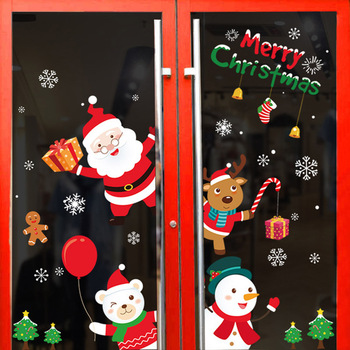Christmas Window Wall Stickers Welcome Stickers Decor Wall Cling Decals Christmas Decorations for Home New Year 2021 Gifts Natal 2020 merry christmas wall stickers window glass festival wall decals santa murals new year christmas decorations for home decor