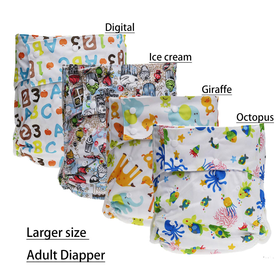 1PC Adult Washable Cloth Diaper Adjustable Reusable Ultra Absorbent Incontinence Pants Nappy Leakproof Diaper Pants
