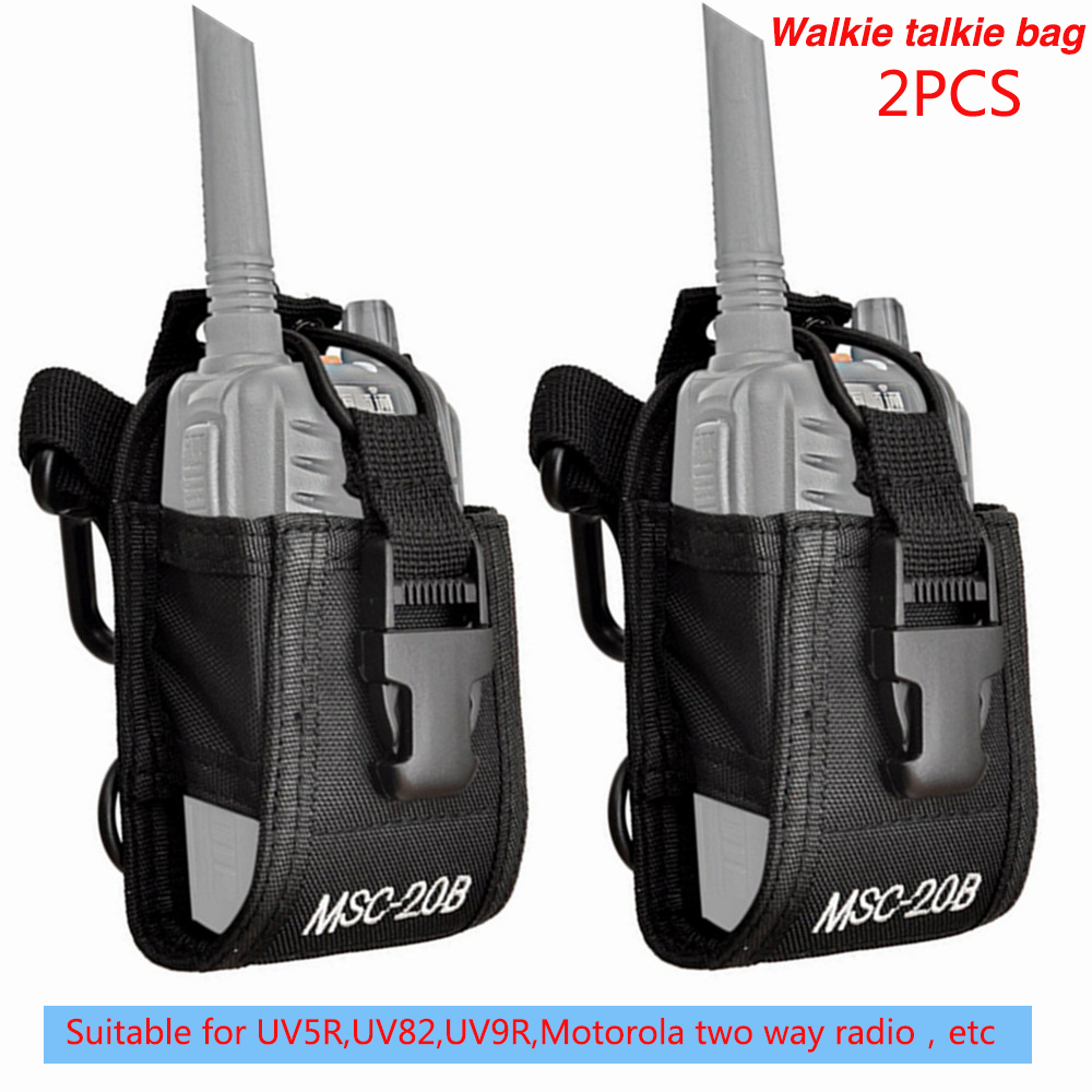 2PCS MSC-20B Nylon Pouch Bag Walkie Talkie Carry Case For Baofeng UV5R UV82 Bf888S UV-9R Plus TYT Mototrola Ham Two Way Radio