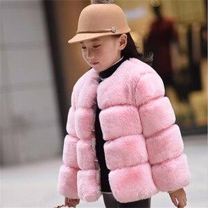 Image 2 - Dziewczyny futro kurtka dla dzieci topy ubrania 2020 nowe dziecko dzieci kurtki ciepły płaszcz ocieplany Solid Color chłopcy Faux futro odzież wierzchnia płaszcz