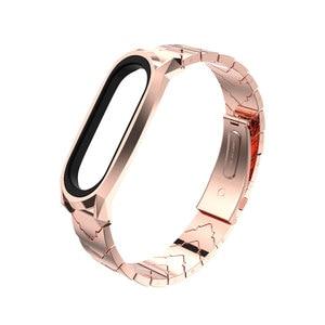 Image 3 - Metal Bracelet Mi Band 5 Strap NFC Global Version Correa Original for Xiaomi Mi Band 4 Smart Watch Mi Band 3 Stainless Wrist