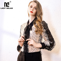 100% Pure Silk Women's Runway Shirts Turn Down Collar Long Sleeves Lace Patchwork Printed Elegant Casual Blouse Shirt
