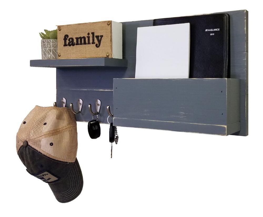 Rustic Key Holder Mail Organizer Wall Mount Box Key Rack Mail Holder Floating Shelf Wall Hooks