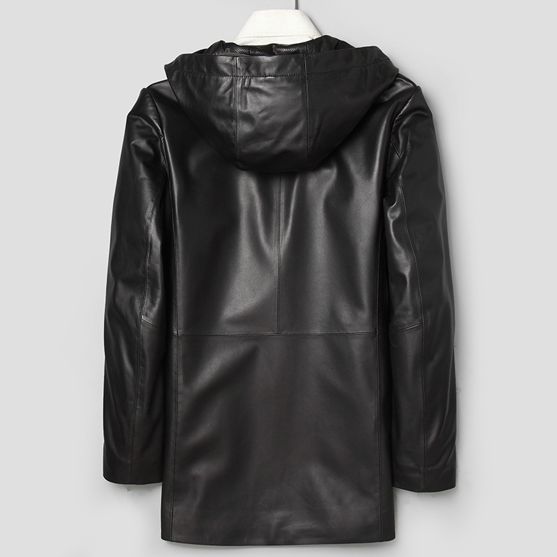 Long Leather Coat Genuine Leather Hooded Jacket Korean Windbreaker Sheepskin Coat Chaqueta Cuero Hombre 71J7866 YY271