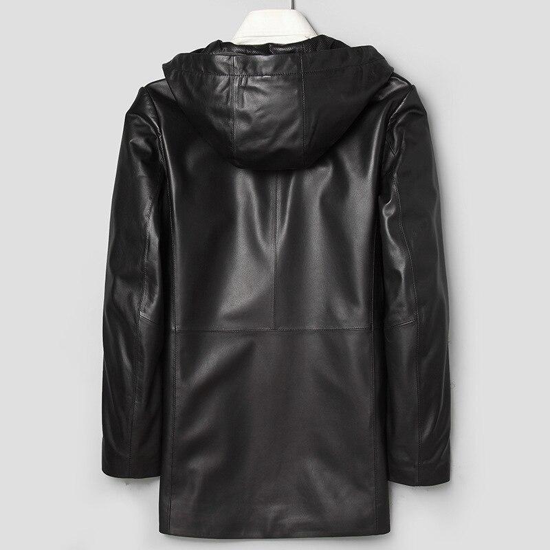 Long Leather Coat Genuine Leather Hooded Jacket Korean Windbreaker Sheepskin Coat Chaqueta Cuero Hombre 71J7866 YY271