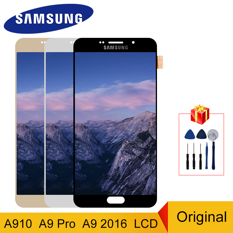 A910 Display Original For <font><b>Samsung</b></font> <font><b>Galaxy</b></font> <font><b>A9</b></font> 2016 A910 <font><b>LCD</b></font> Touch <font><b>Screen</b></font> Digitizer Display <font><b>A9</b></font> Pro A9100 Replacement Parts image