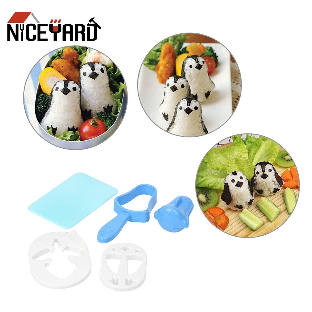 NICEYARD Penguin Sushi Maker Mold Sushi Nori Punch Pad Пластиковая форма для рисовых шариков 1 Набор инструментов для приготовления пищи Bento Tool-0
