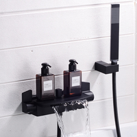 Brass Bath Shower Faucets black Waterfall shower set Rain taps bathroom mixer faucet wall mounted shower faucet