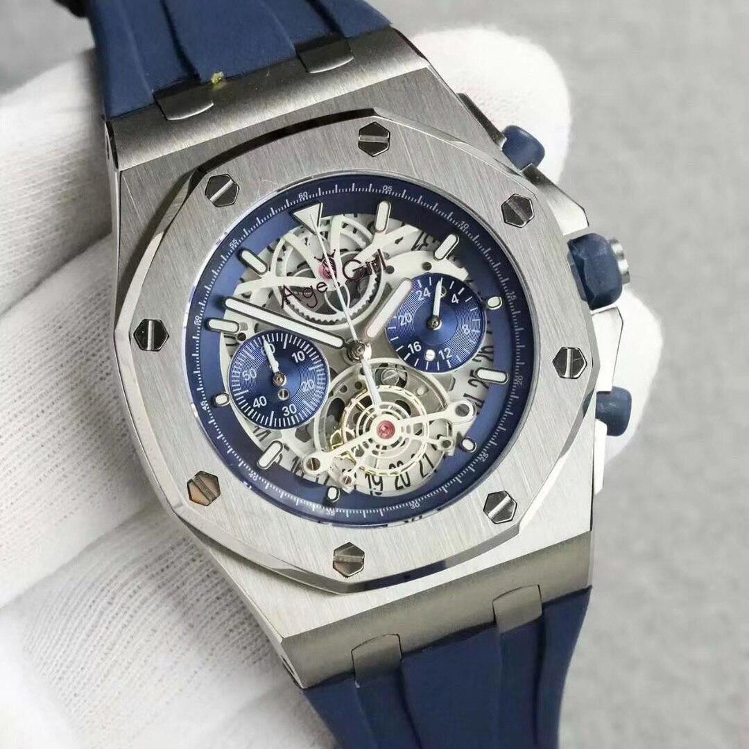 Luxury Brand New Quartz Chronograph Men Stopwatch Lebron James Sapphire Watches Rose Gold Blue Rubber Luminous Leather Limited