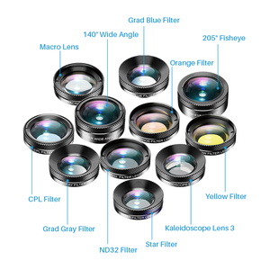 Image 2 - APEXEL 11 in 1 camera Phone Lens Kit wide angle macro Full Color/grad Filter CPL ND Star Filter for iPhone Xiaomi all Smartphone