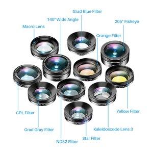 Image 2 - APEXEL 11 in 1 kamera telefon Lens kiti geniş açı makro tam renkli/grad filtre CPL ND yıldız filtresi iPhone Xiaomi için tüm akıllı telefon