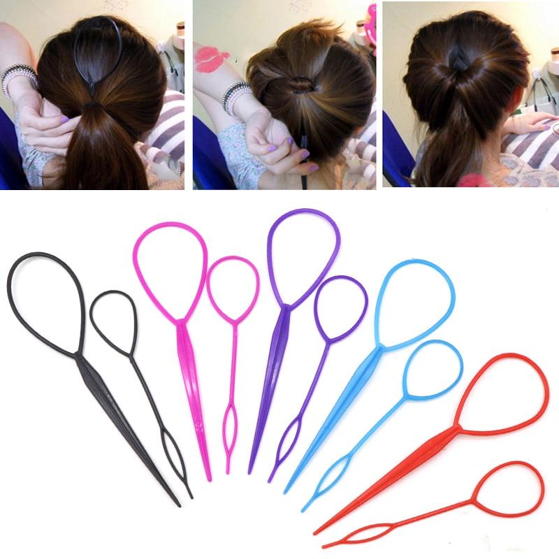 2Pcs/Lot Fashion Loop Hair Braider Hair Braid Maker Women Ponytail Creator Bun Maker Accesories DIY Fashion Hair Styling Tool
