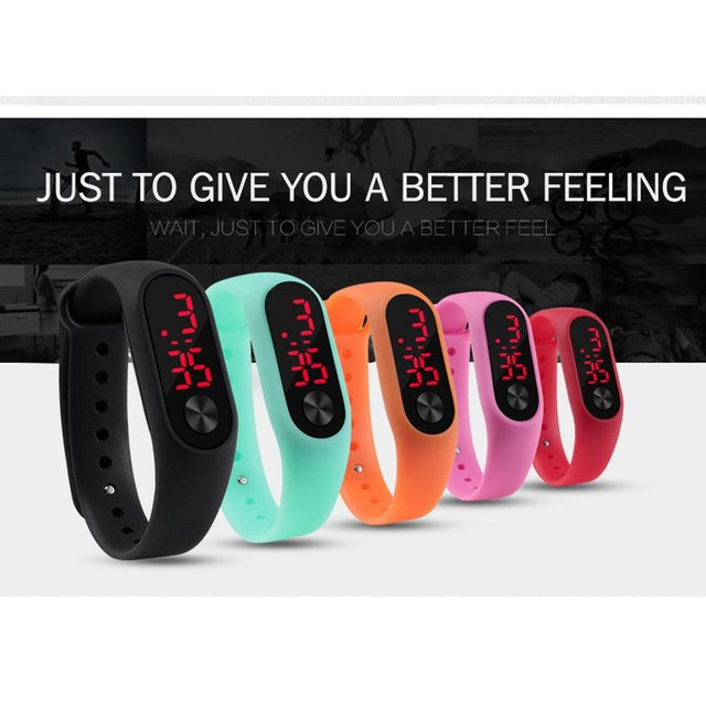 Men Women Casual Sports Bracelet Watches White LED Electronic Digital Candy Color Silicone Wrist Watch for Children Kids 2