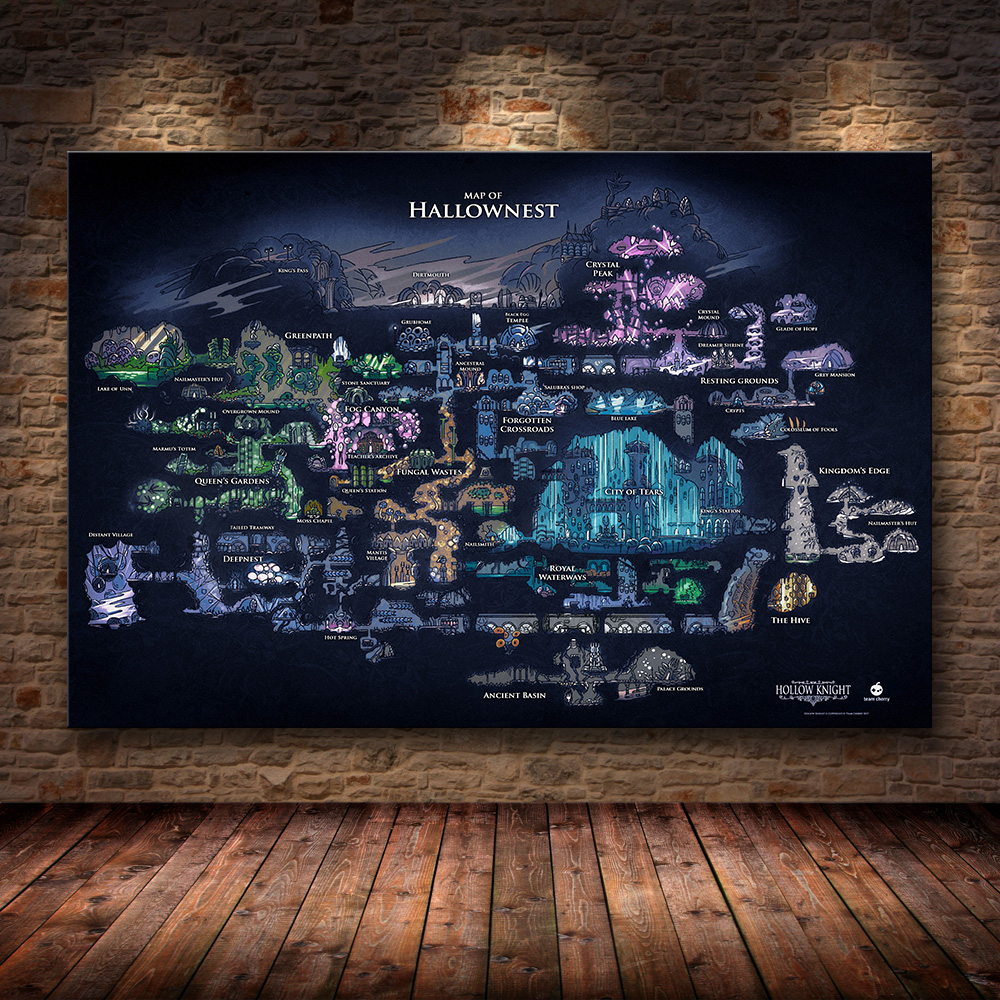 Hollow Knight Map The Game Poster Decoration Painting Of The  On HD Canvas Canvas Painting Of Hallownest Poster Wall Art Canvas