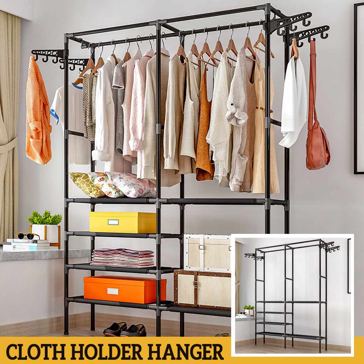 Vêtements debout de plancher de support de vêtements accrochant les supports colorés de cintre d'étagère de stockage Couple meubles simples de chambre à coucher de Style title=