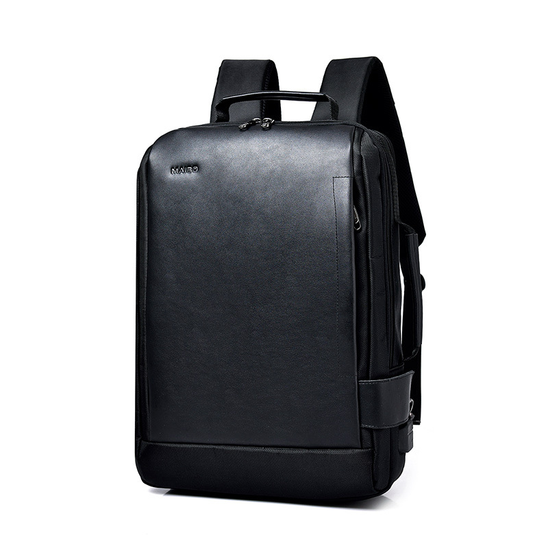 Leather Backpacks 15 Inch Laptop for Men Business Waterproof Fashion Student Travel School Bags Usb Charging Black Bagpack image
