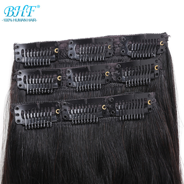 BHF 3 pieces Clip In Human Hair Extensions Straight Machine Gemaakt Remy 100% Chinese Haar 30g 90g