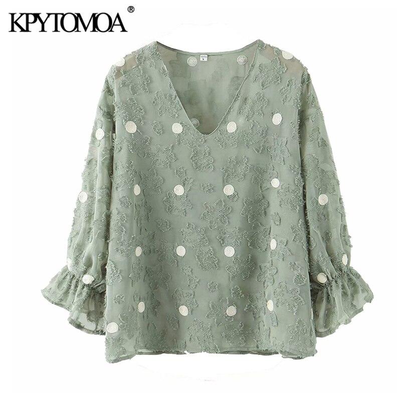 KPYTOMOA Women 2020 Fashion See Through Polka Dot Ruffled Blouses Vintage V Neck Half Sleeve Female Shirts Blusas Chic Tops