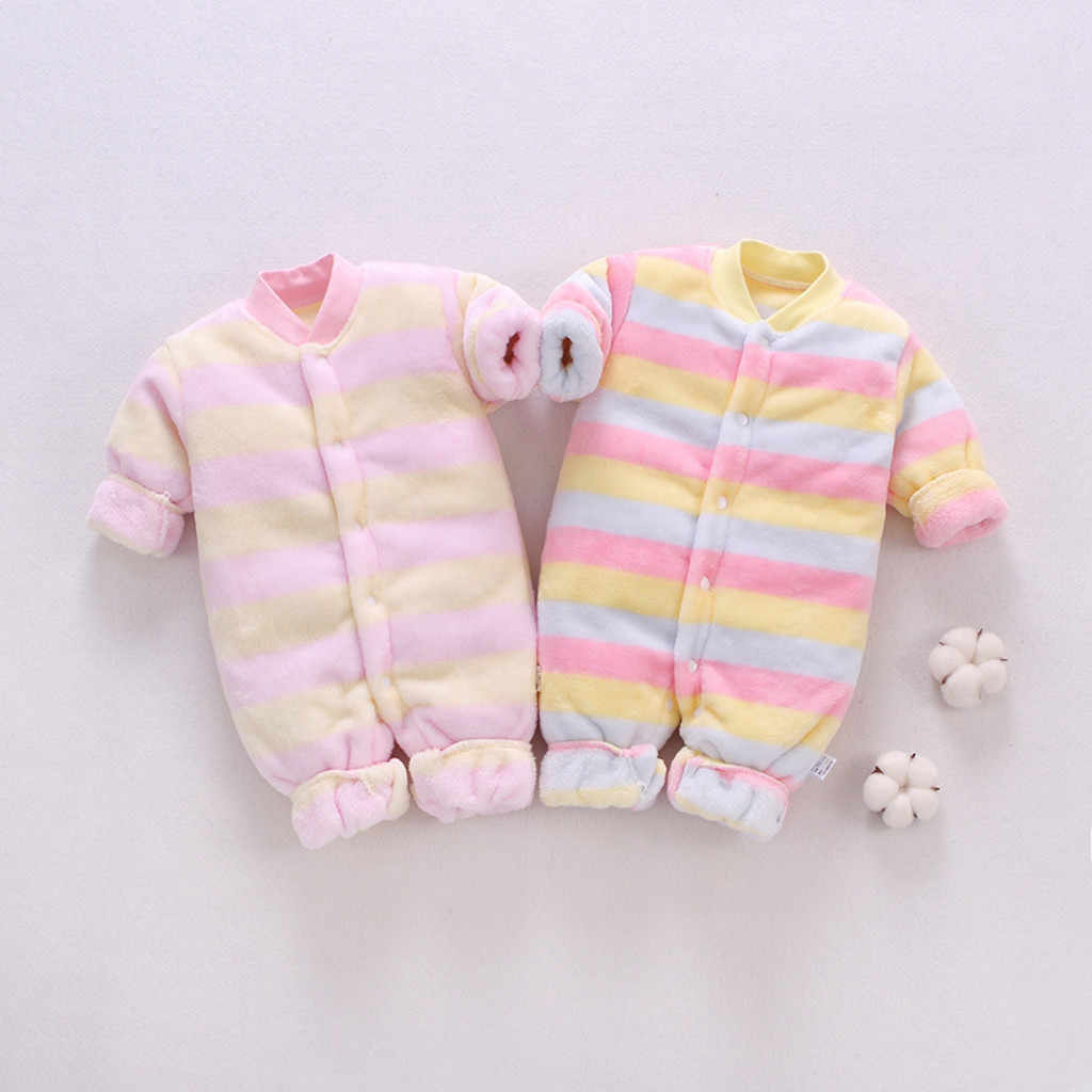 Autumn Winter Baby Rompers Newborn Infant Baby Girl Fleece Thick Warm Striped Romper Jumpsuit Baby Outfits Suits Toddle Clothing