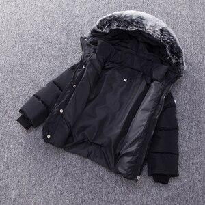 Image 4 - 春キッズボーイズ & ガールズダウンコート冬ジャケット暖かい子供厚みプラス入りのジャケットフード付き上着衣装