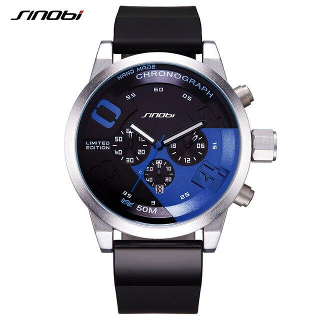 SINOBI Мужские спортивные часы, водонепроницаемые Желтые часы с циферблатом, стальной хронограф, кварцевые наручные часы 2020 Racing Relogio Masculino