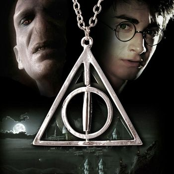 Popular Movie  Harry  Deathly Hallows Pendant Necklace Movie Trendy Jewelry Long Chain Triangle Necklace 3 Colors deathly hallows wax seals s logo harry potter multi color brass stamp