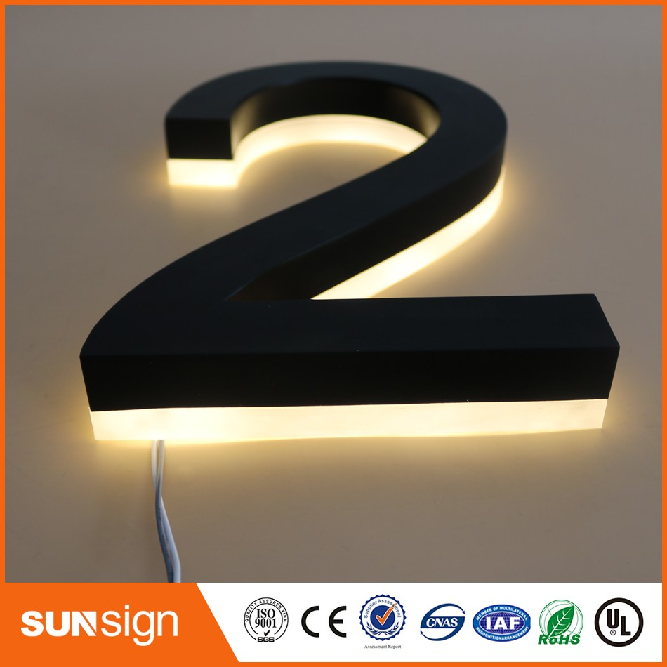 Lights House-Numbers Letters Acrylic-Back Stainless-Steel Wholesale Backlit Black White