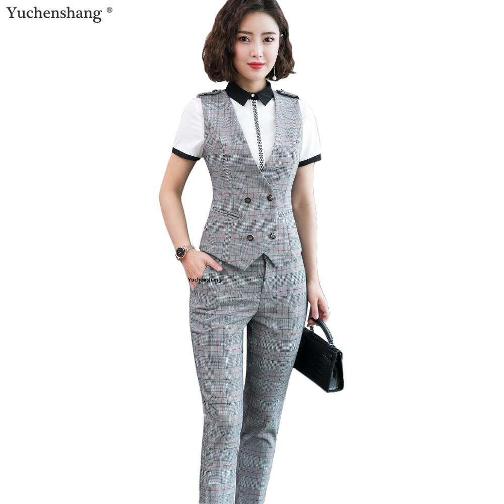 Summer Wear Women 2 Piece Set Plaid Pant Suit Size S-4XL Slim Sleeveless Double Breasted Vest With Pant
