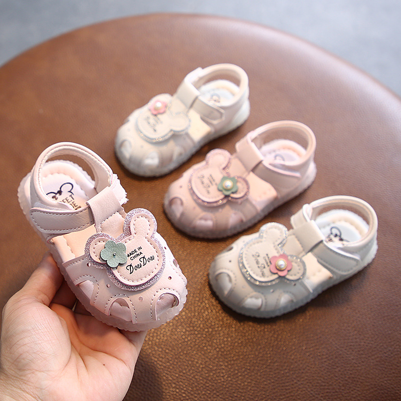 Cute Cartoon Pink White Color Baby Girls Summer Shoes Soft Sole Infant Toddler First Walkers Baby Girls Clogs Crib Shoes