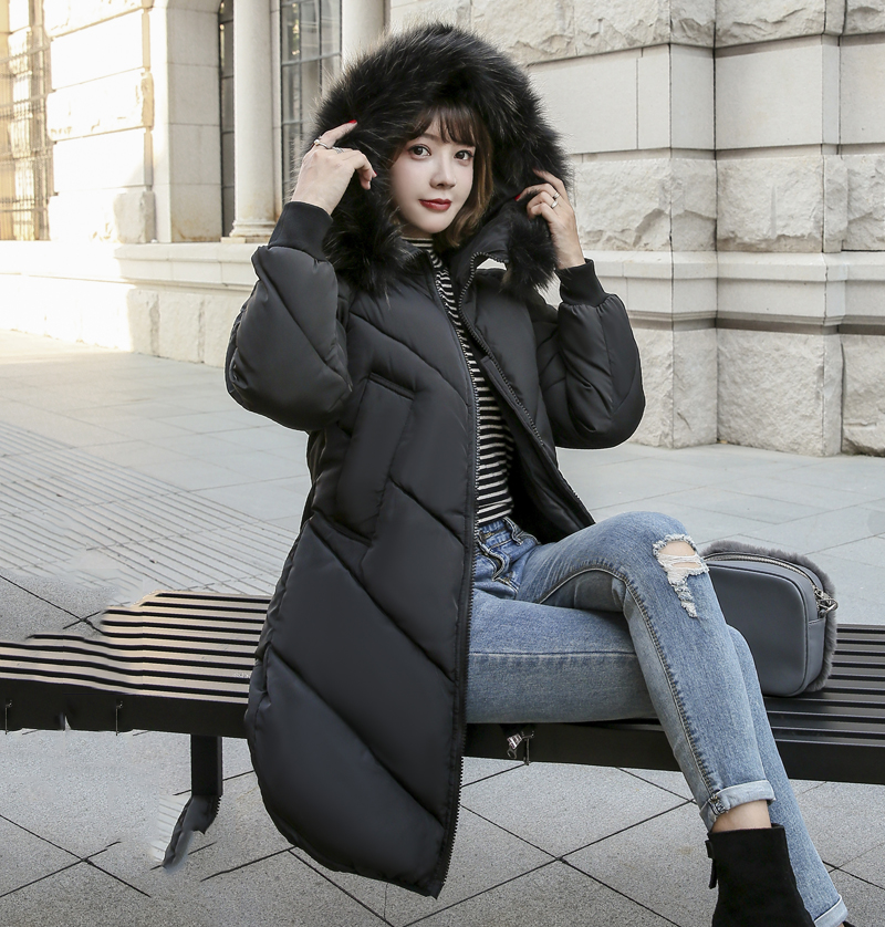 2019 High Quality Winter Jacket Women Hooded Fur Collar Warm Thicken F_A5_6