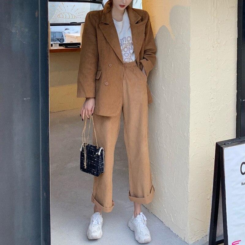 2020 Blazer Suit  Women High Waist Wide Leg Pants Casual Vintage Loose Coat Western Style Elegant Ladies Sets Streetwear