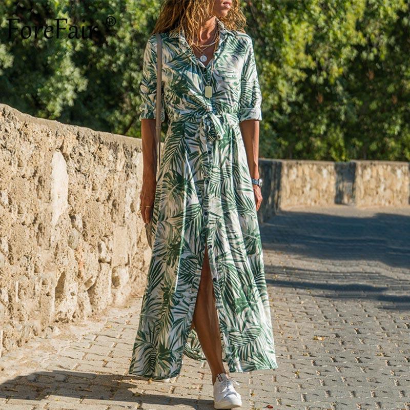 Женское пляжное платье с цветочным принтом Forefair, шифоновое Повседневное платье макси с длинным рукавом, лето 2019